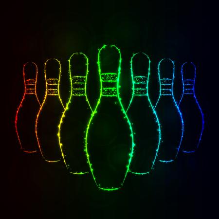 Bowlingspiel-Stifte-Illustrations-Ikone, Steigungs-Farblicht-Schattenbild auf dunklem Hintergrund. Leuchtende Linien und Punkte