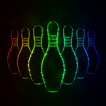 Icône d'illustration de quilles de bowling, silhouette de lumières de couleur de dégradé sur fond foncé. Lignes et points lumineux