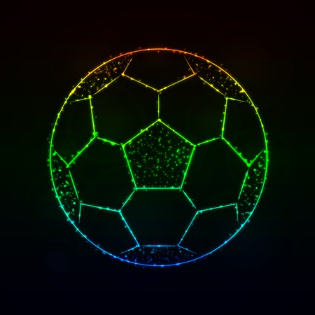 Soccer Ball Illustration Icon, Gradient Color Lights Silhouette on Dark Background. Glowing Lines and Points Illustration