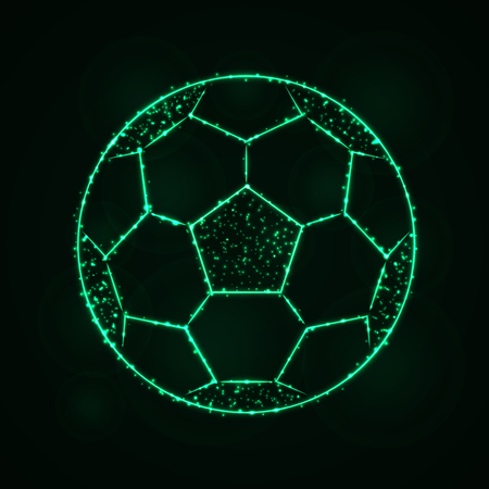 Soccer Ball Illustration Icon, Spring green Color Lights Silhouette on Dark Background. Glowing Lines and Points