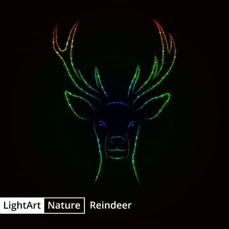 reindeer silhouette: Reindeer silhouette of gradient lights on black background Illustration