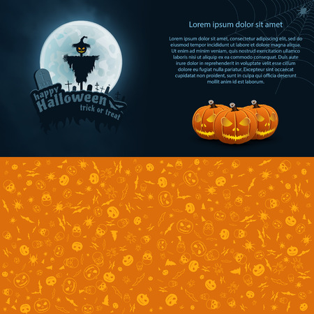 Happy Halloween Trick or Treat Vector Postcard. Moon, Text, Bat, Scarecrow, Monument, Pumpkin, Web, Spider.