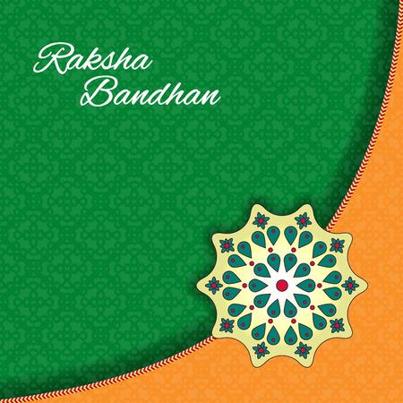 rakhi: Raksha Bandhan celebration Background. Traditional Rakhi design decorated greeting card for Indian Festival of brother and sister love.