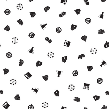 Casino freehand drawings seamless pattern. Gambling pattern in doodle style. Hand drawn elements doodles design for wallpapers, wrapping, textile prints, backgrounds. Vector illustration.