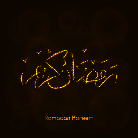 symbolization: Ramadan Kareem Lights Silhouette on Dark Background. Glowing Lines and Points. Ramadan Kareem Arabic calligraphy. Celebration of Muslim community festival. Illustration