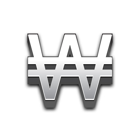 Won 3d sign illustration isolated. Vector currency symbol. Illustration