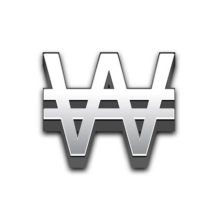 illuminate: Won 3d sign illustration isolated. Vector currency symbol. Illustration