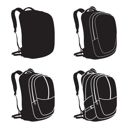 Prozess des Zeichnens eines Rucksacks. Vektor-Illustration. Rucksack isoliert Symbol.