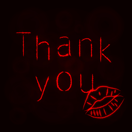 Thank You Illustration Icon, Lights Silhouette on Dark Background. Glowing Lines and Points Ilustrace