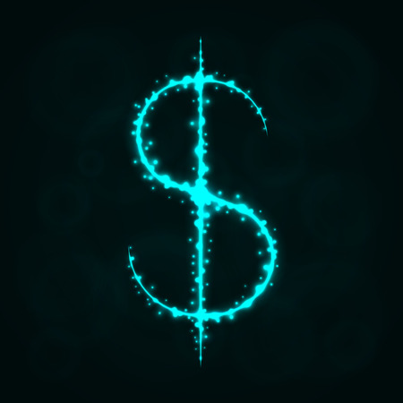 Dollar Sign Illustration Icon, Lights Silhouette on Dark Background. Glowing Lines and Points