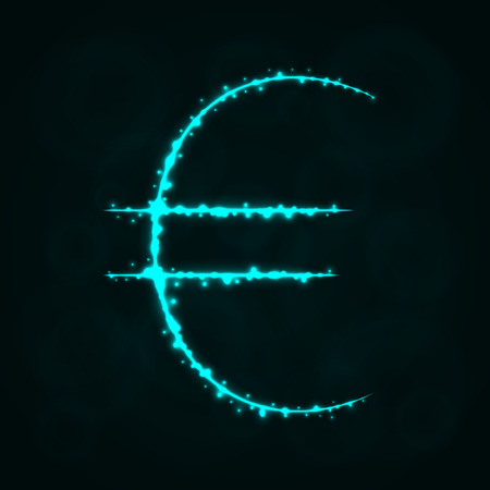 Euro Sign Illustration Icon, Lights Silhouette on Dark Background. Glowing Lines and Points