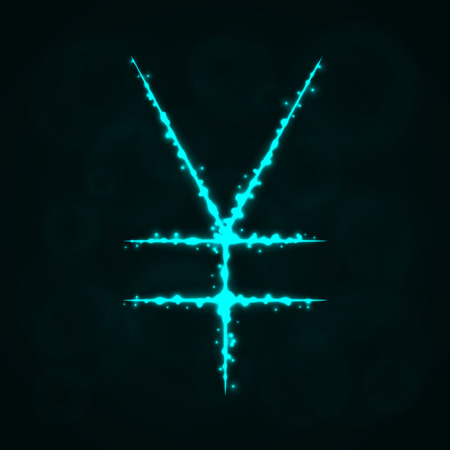 Yen Sign Illustration Icon, Lights Silhouette on Dark Background. Glowing Lines and Points