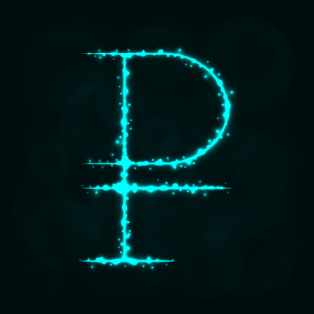 Rouble Sign Illustration Icon, Lights Silhouette on Dark Background. Glowing Lines and Points