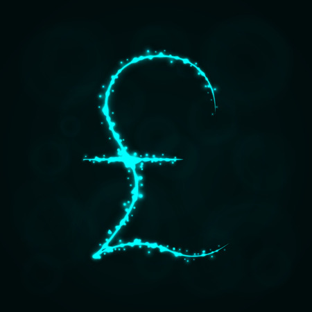 Pound Sign Illustration Icon, Lights Silhouette on Dark Background. Glowing Lines and Points Ilustrace