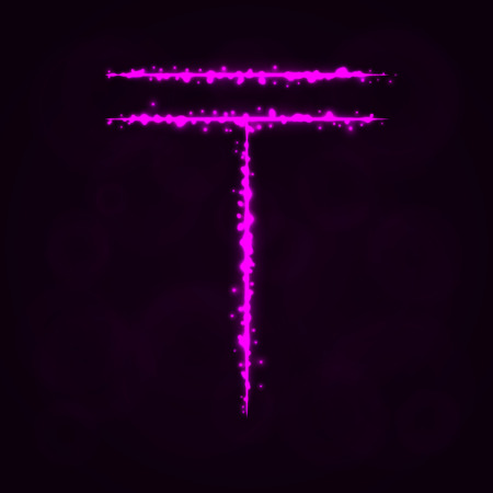 Tenge Sign Illustration Icon, Lights Silhouette on Dark Background. Glowing Lines and Points