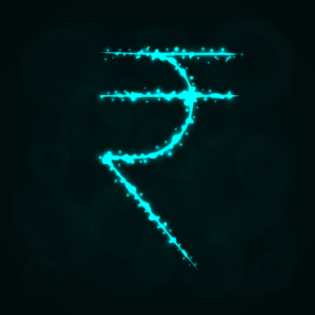 Rupee Sign Illustration Icon, Lights Silhouette on Dark Background. Glowing Lines and Points Ilustrace