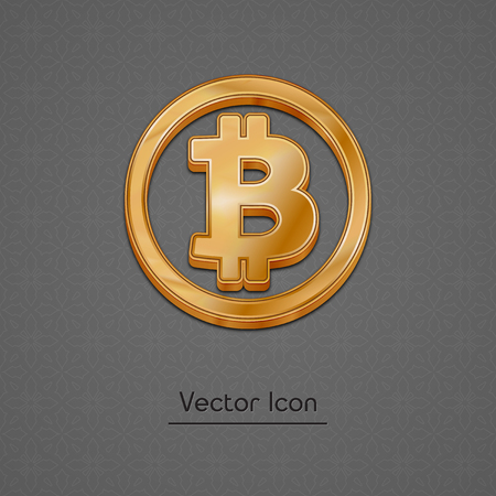 cash: Golden bitcoin symbol isolated web vector icon. Bitcoin trendy 3d style vector icon. Raised symbol illustration. Golden bitcoin crypto currency sign.