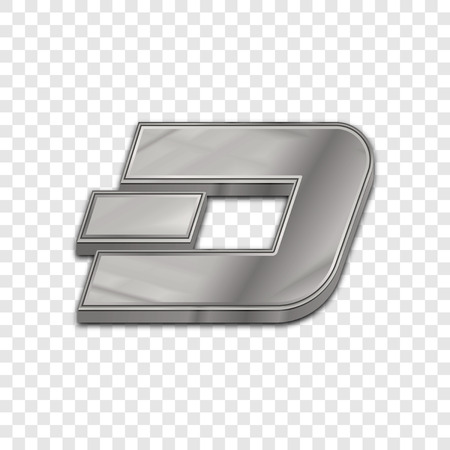 cash: Silver dash coin symbol isolated web vector icon. Dash coin trendy 3d style vector icon. Raised symbol illustration. Silver dash coin crypto currency sign. Illustration