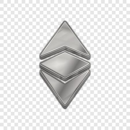 cash: Silver ethereum classic coin symbol isolated web vector icon. Ethereum classic coin trendy 3d style vector icon. Raised symbol illustration. Silver ethereum classic coin crypto currency sign. Illustration