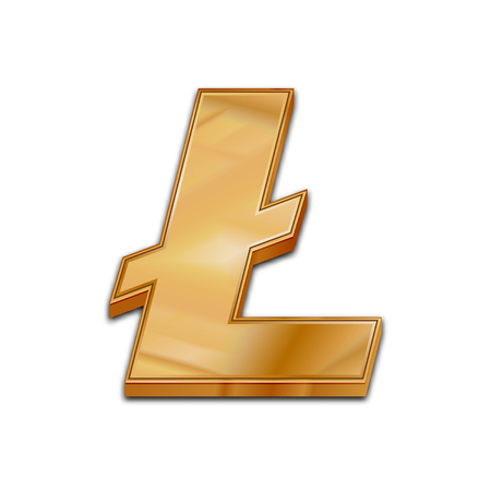 Golden litecoin symbol isolated web vector icon. Litecoin trendy 3d style vector icon. Raised symbol illustration. Golden litecoin crypto currency sign.