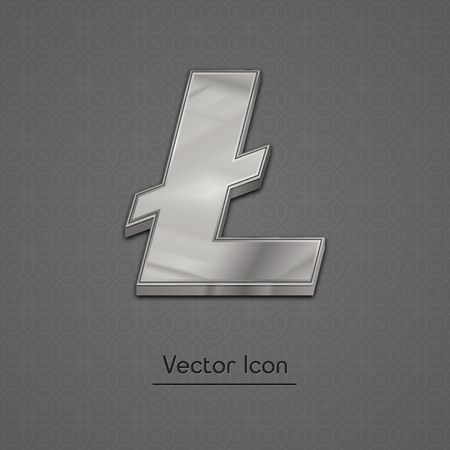 cash: Silver litecoin symbol isolated web vector icon. Litecoin trendy 3d style vector icon. Raised symbol illustration. Silver litecoin crypto currency sign. Illustration