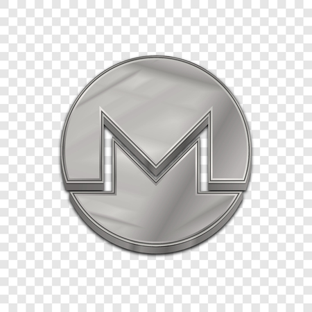 cash: Silver monero coin symbol isolated web vector icon. Monero coin trendy 3d style vector icon. Raised symbol illustration. Silver monero coin crypto currency sign.