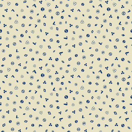 Cryptocurrency Seamless Pattern background.