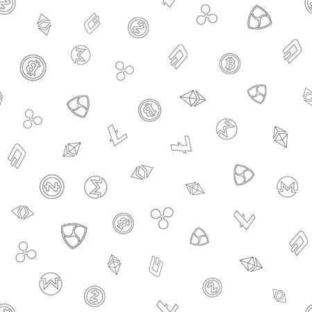 Cryptocurrency naadloze patroon achtergrond. Stock Illustratie