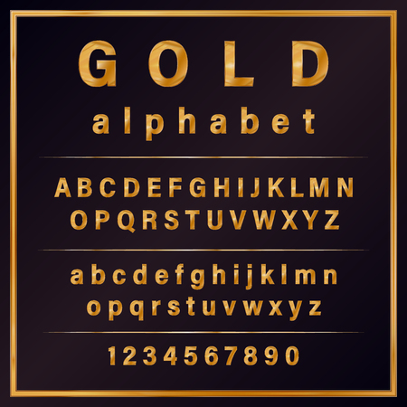 Gold Colored Metal Chrome alphabet font. Typography classic style golden font set for logo, Poster, Invitation. vector illustration Banque d'images - 110469714