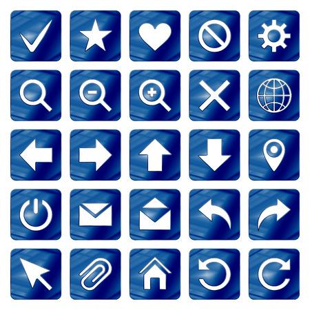 Dark Blue Colored Metal Chrome web icons set. Vector illustration. Interface, multimedia icon.  イラスト・ベクター素材