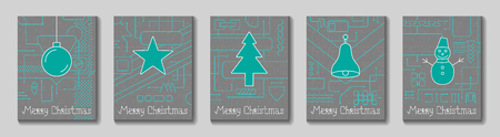 Merry Christmas Holiday Greeting Card. Geometry lines, art techno style. Line art design. Vector Illustration.