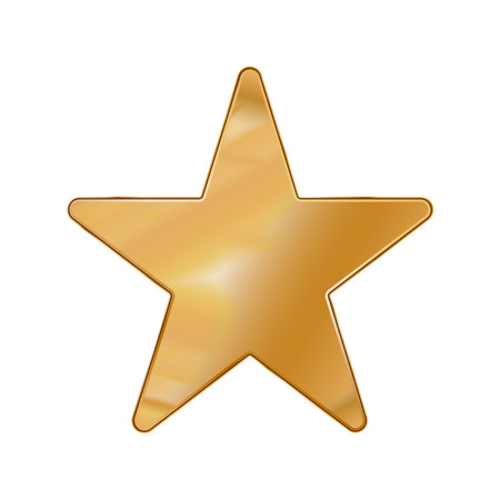 Gold Colored Metal Chrome web icon star. Vector illustration. Interface, multimedia icon.