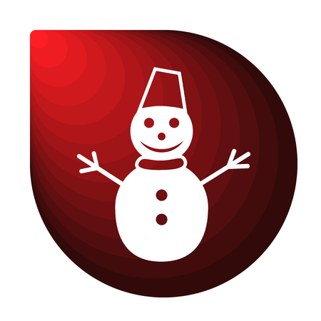 Merry Christmas red icon in the form of a drop. Winter icon in beautiful gradient design isolated on white background. New year sign vector illustration. Snowman symbol. Illustration