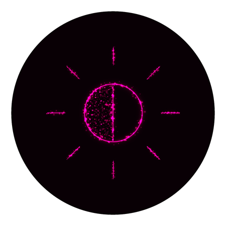 Brightness icon of pink lights on black background. Neon vector icon Ilustração