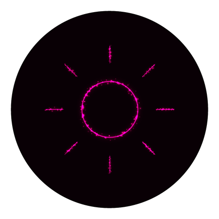 Brightness icon of pink lights on black background. Neon vector icon