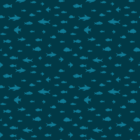 Fish themed freehand drawings seamless pattern. Hand drawn fish elements doodles design for wallpapers, wrapping, backgrounds. Vector illustration. Illustration