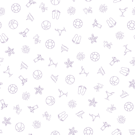 Summer pattern with hand drawn beach elements. Fashion print design, vector illustration. Seamless Pattern Background for banner, card, website. Design for wallpapers, wrapping, backgrounds.