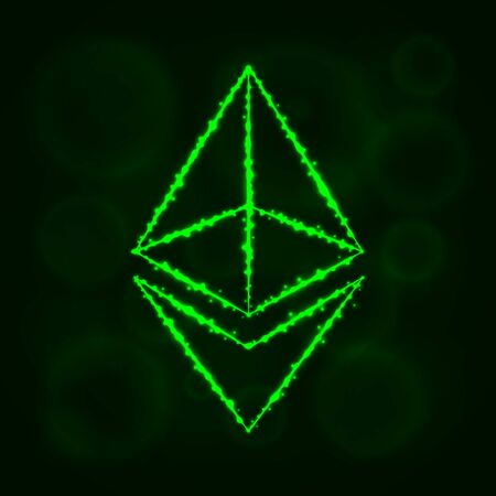 Ethereum vector icon. Ethereum symbol for your web site design, internet, graphic interface, business. Ethereum illustration, lights silhouette on dark background. Ethereum glowing lines and points.