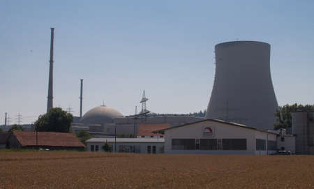 On the right the cooling tower in the middle the reactor dome and on the left behind the machine house with the steam turbines of a nuclear power plant.