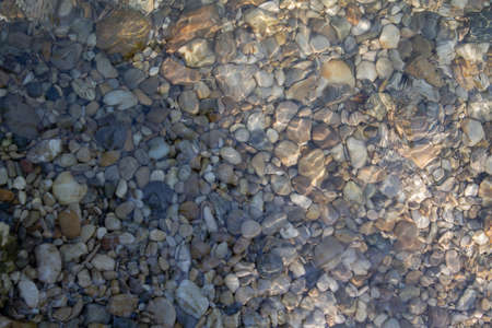 Texture of river pebbles under water.