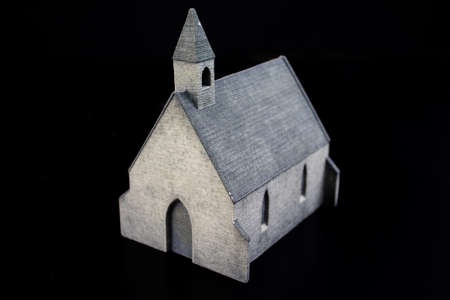 A church from the 3D printer. Printed from plaster. Front view