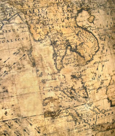 far east fragment of ancient aged map with malaysia vietnam bangladesh and china and more