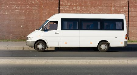 blank white shuttle bus Stock Photo