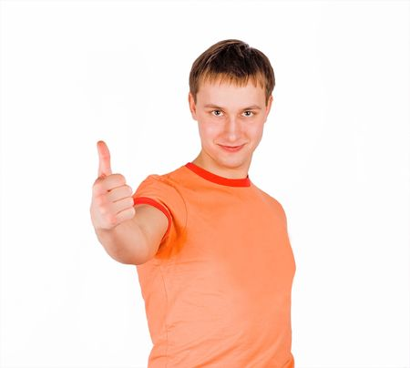 young man giving thumb up and smiling photo