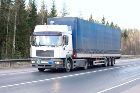 blue white tractor trailer truck of Trucks series in my portfolio photo
