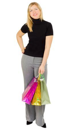 smiling happy shopping woman photo