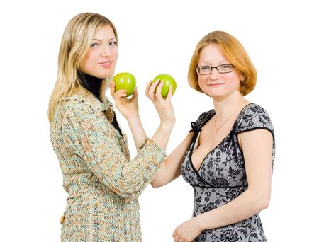 two girls with green apples photo