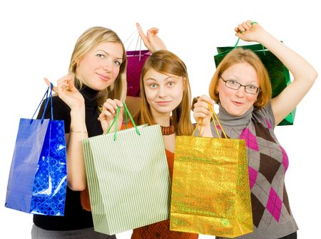 three happy women after shopping  photo