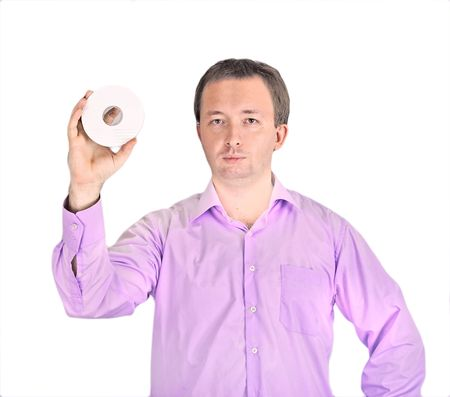 Man displaying cd or dvd photo