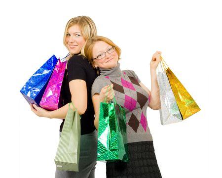 couple of happy shopping girls photo